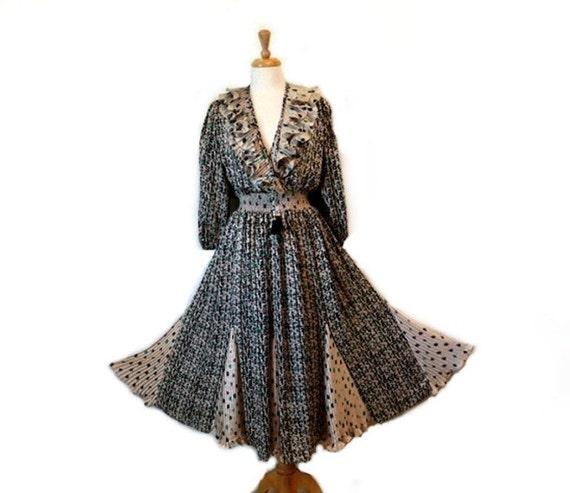SALE 1970s Ruffled Dress Tasseled tie Indigo Lites Semi Sheer Drapped Gypsy Full Skirt Party Dress  S/M/L/XL