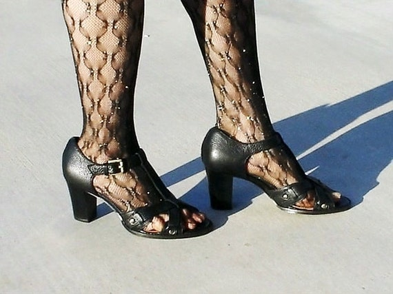 Black Shoes, Buckle Strap Slingback, High Heel Pumps, Holiday party Shoes Women 9.5