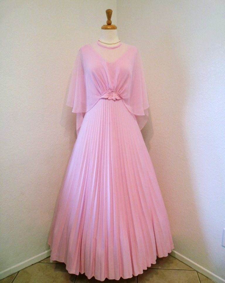 Vintage 60s Wedding Dress Chiffon Pastel Pink Sheer Cape