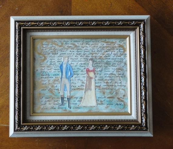 PRICE REDUCED originally 75.00 now 30.00 I am half agony, half hope - a Persuasion original collage on canvas - 8x10