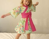 Kimono Dress - MINTY FRESH FLOWERS - girls custom boutique dress sizes 0 through 2 years
