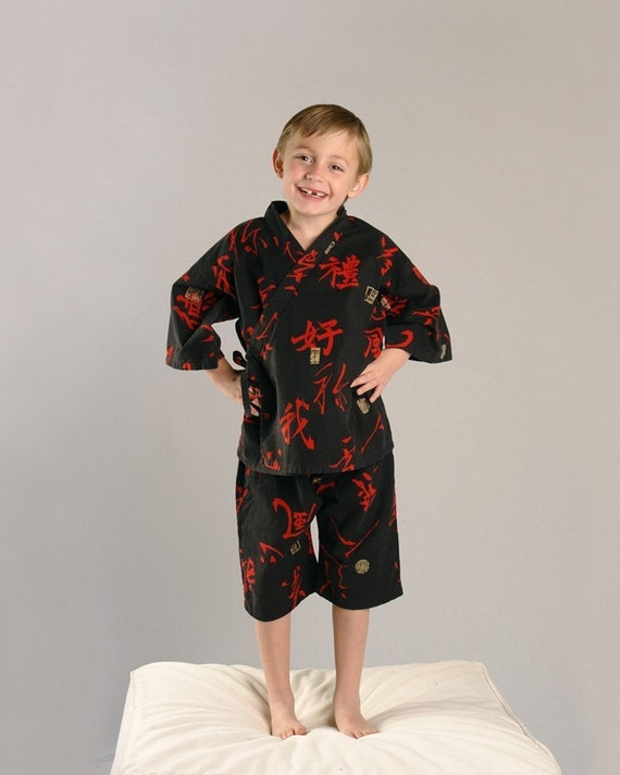 Ninja Kanji KIMONO OUTFIT playwear pajamas sizes 5 through 10 years