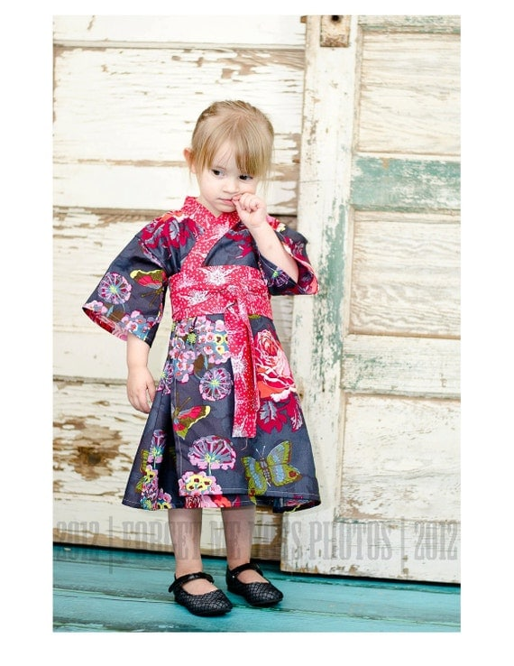 KIMONO DRESS - Nilas Bouquet - sizes 0 through 3T - baby girls toddler easter dress