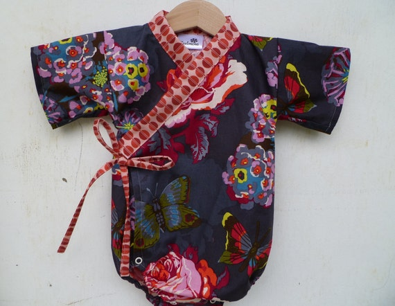 Baby Toddler Kimono bodysuit - CHARCOAL BOUQUET - Boutique Baby Outfit