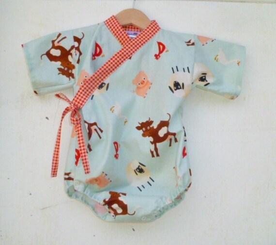 Baby Kimono Onesie - FARM PETS - Last One - size 0-3 months - boys or girls