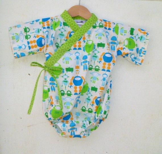Baby Kimono Onesie - MR ROBOTO - Last One - 0-3 months - baby boy or girls