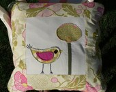 AS FEATURED ON ETSY BLOG THE STORQUE Sweet Chickadee and Fresh Poppies Pillow