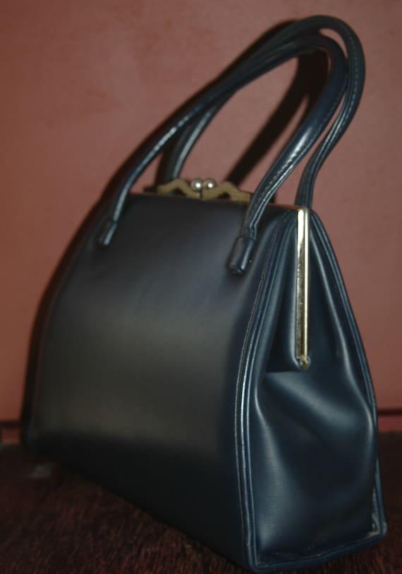 Vintage 60's Navy Blue  Kelly Girl Mad Men Handbag