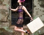 SCARLETT - Black Lace Scalloped Flapper Dress - Small