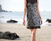 VICTORIA - Black and Silver with Lace Neckline Sweetheart Dress