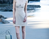 EDITH - Taupe Woven Tweed Dress with Lace Dress
