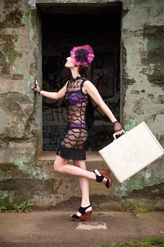 SCARLETT - Black Lace Scalloped Flapper Dress - Small