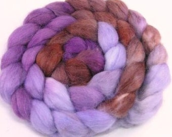 Spinning Fiber - Baby Alpaca Combed Top / Roving - Chocolate Violets