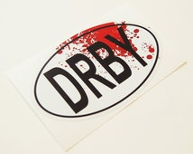 Roller Derby Sticker DRBY Oval With Blood Spatter