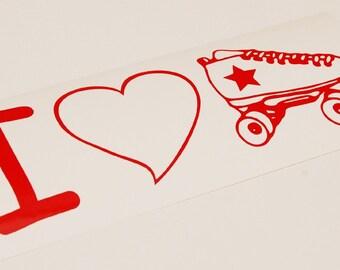 Roller Derby Sticker I Heart Skate Die Cut