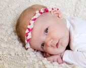 Vintage Inspired Pinks and Cream Ribbon Fabric and Lace Braided Halo Headband All Sizes Newborn through Adult Great Photography Prop