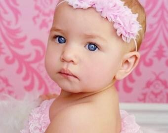 Mini Triple Pink Shabby and Chic Frayed Fabric Rose Flower on Skinny Elastic Headband Perfect for Newborn