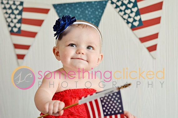 4th of July Headband Navy Blue Cabbage Rose Flower with a Rinestone Button Center on a White Fold Over elastic Headband