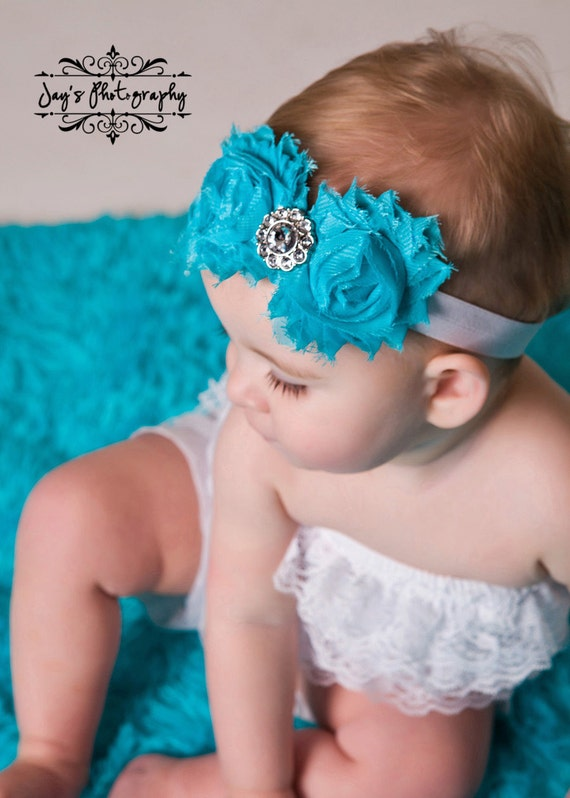 Shabby and Chic Frayed Breakfst at Tiffanys Blue Fabric Rose Flowers on a White Fold Over Elastic Headband