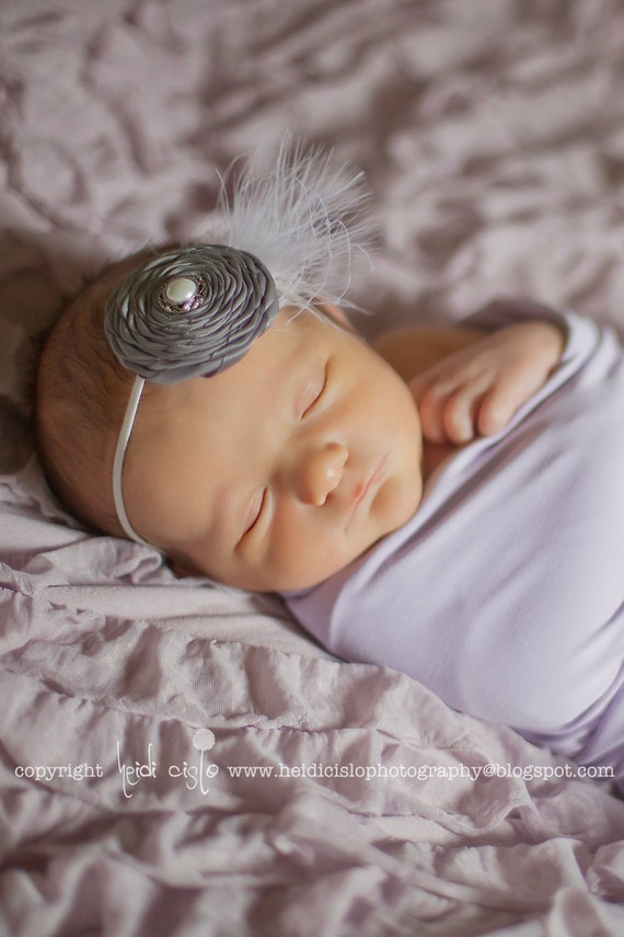 Vintage Style Silver or Charcoal Grey Satin Rolled Fabric Flower with Feather on a Skinny White Headband