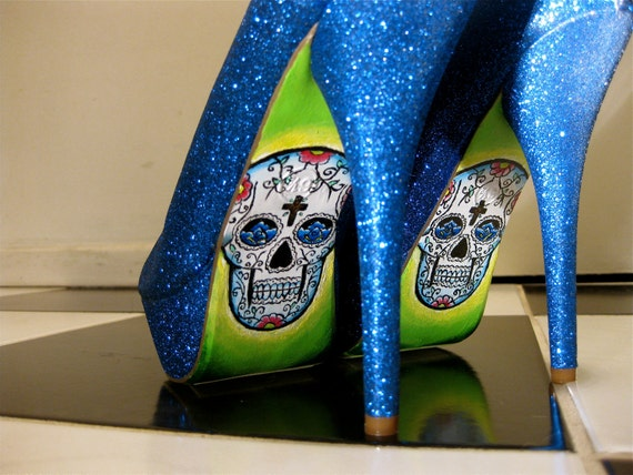 DESTASH - SIZE  6 1/2 - Day of The Dead Glitter Patent Heel Pumps- Blue