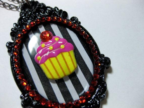Cupcake Necklace- Pink & Striped with Red Swarovski