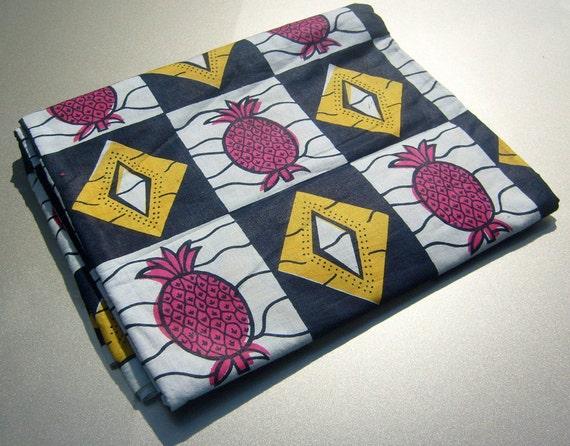 African Fabric Soft Cotton Prints - Pineapple Crush - Half Yard