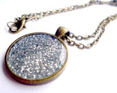 PENDANT  Silver Glitter Sparkle necklace
