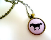 PENDANT running horse silouhette  PINK