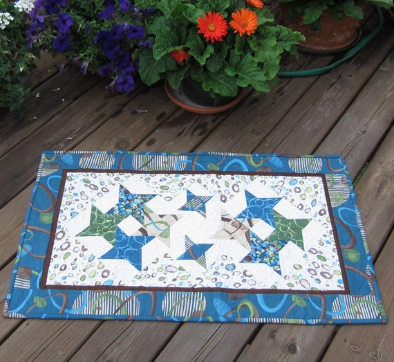 Table Runner or Wall Quilt with Blue and Green Pieced Stars