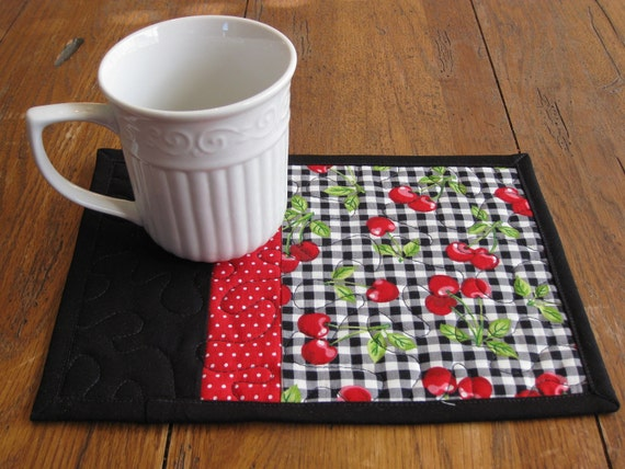Cherry Mug Rugs - Set of Two