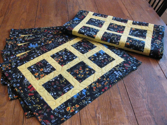 Handmade Quilted Table Runner and Set of Four Place Mats / Look for 20% Off Coupon in My Shop