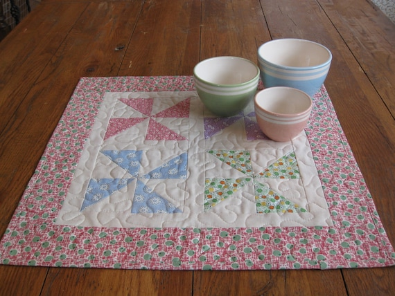 Patchwork 1930's Reproduction Fabric Pinwheels Table Topper / Look For 20% Off Coupon in My Shop / Good on Everything