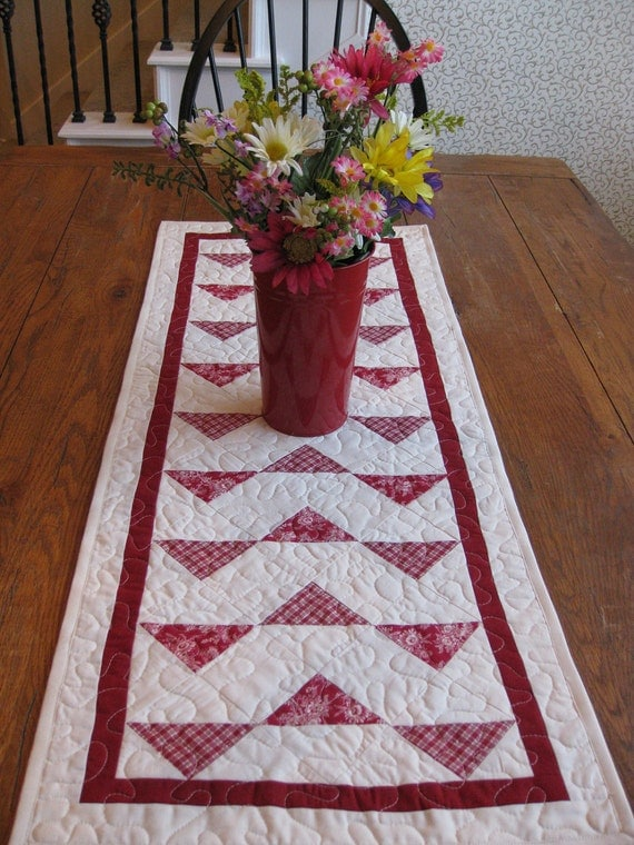 Red Triangles Table Runner