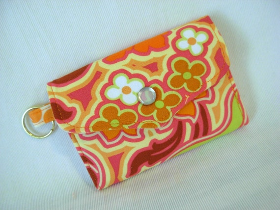 Mini Wallet Card Case Coin Purse Key Ring Amy Butler Fabric Tangerine Floral