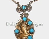 RESERVED for Ann Mythological Goddess Cameo Very Unique Vintage Jeweled Necklace Hand Made DALI CHIC