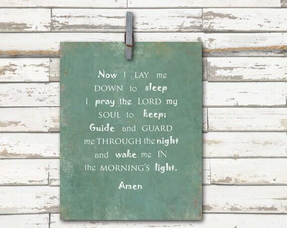 Print - Now I lay me down to sleep - Inspirational Quote - 8x10 art print-  Child Bedtime Prayer -