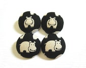 4 Large Fabric Buttons Set - Black Hippo - Fabric Covered Buttons