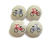 Fabric Covered Buttons - Bicycles - 4 Large Buttons LAST SET