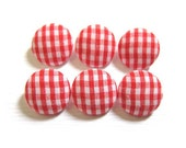 6 Small Fabric Buttons Set - Red Gingham - Fabric Covered Buttons