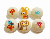 6 Small Fabric Buttons Set - Woodland Friends on Tan - Fabric Covered Buttons