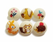 Fabric Covered Buttons - Forest Friends on Tan - 6 Medium Fabric Buttons