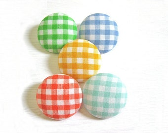 Sewing Buttons / Fabric Buttons - 10 Large Fabric Buttons Set - Rainbow Gingham - Fabric Covered Buttons