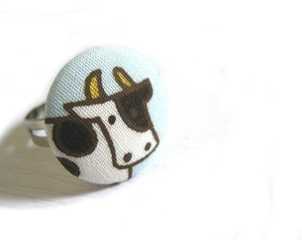 Fabric Button Ring - cow ring