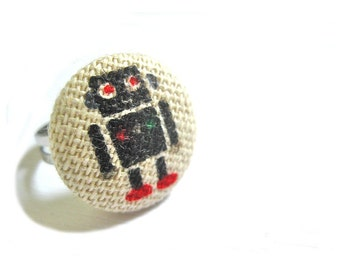 Fabric Button Ring - robot ring