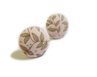 FREE SHIPPING Button Earrings / Clip On Earrings - floral earrings SALE