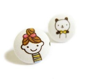 Button Earrings / Clip On Earrings - girl and panda earrings