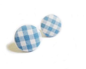 Button Earrings / Button Clip On Earrings - blue gingham earrings