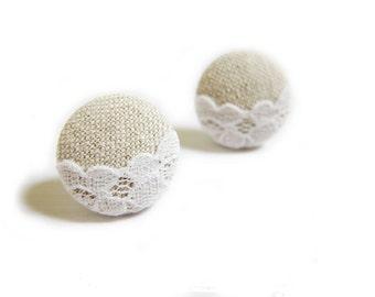 Button Earrings / Clip On Earrings / Stud Earrings - lace and linen earrings