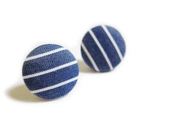 Button Earrings / Clip On Earrings / Stud Earrings - blue stripes earrings